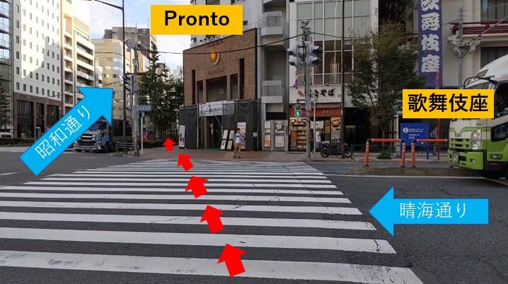 晴海通りの横断歩道を渡り、Pronto(プロント)を右手に大通り(昭和通り)を50メートルほど歩きます。